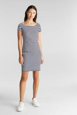 Jersey dress with organic cotton, NAVY, detail