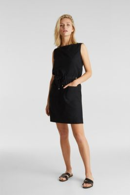 With linen: Dress made of blended cotton, BLACK, detail