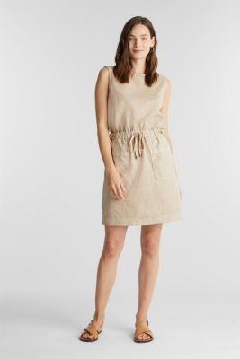 With linen: Dress made of blended cotton, SAND, detail