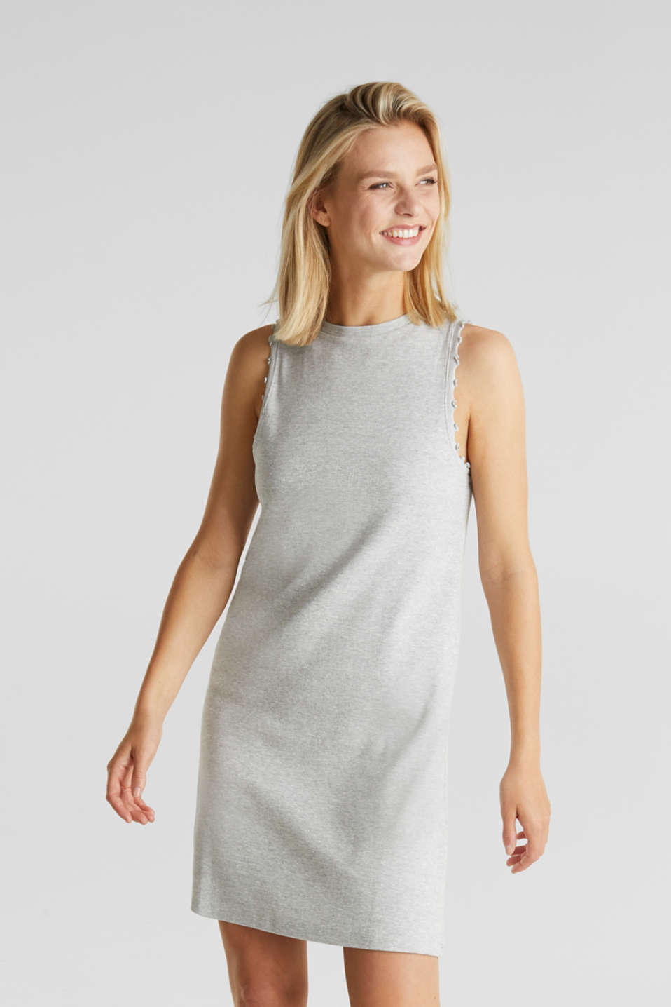 Ribbed jersey tank top dress, LIGHT GREY 5, detail image number 0