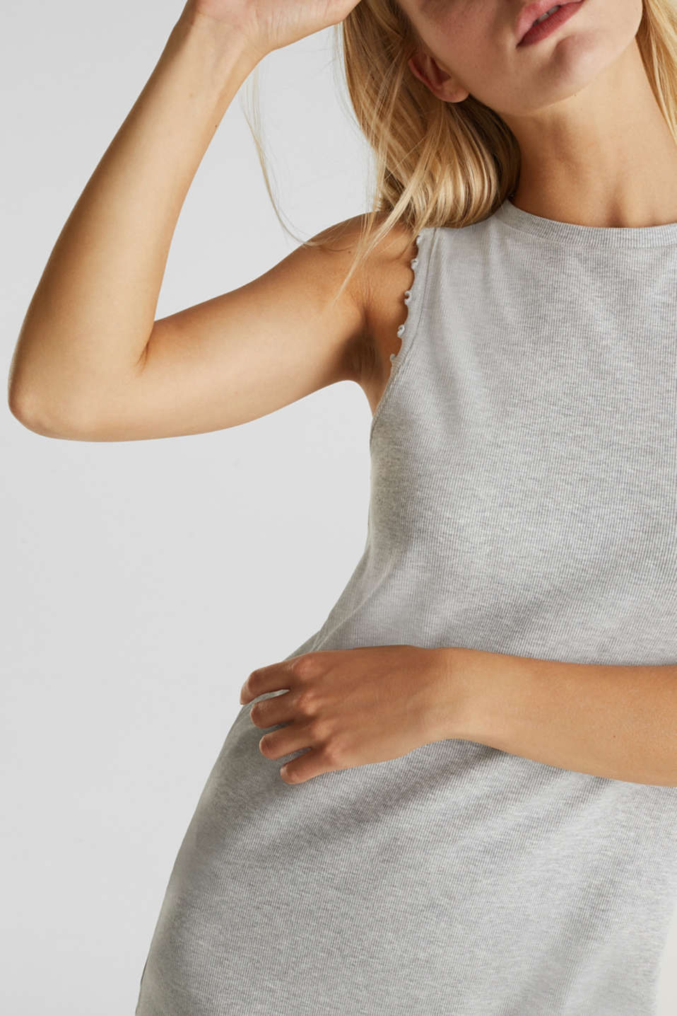 Ribbed jersey tank top dress, LIGHT GREY 5, detail image number 3