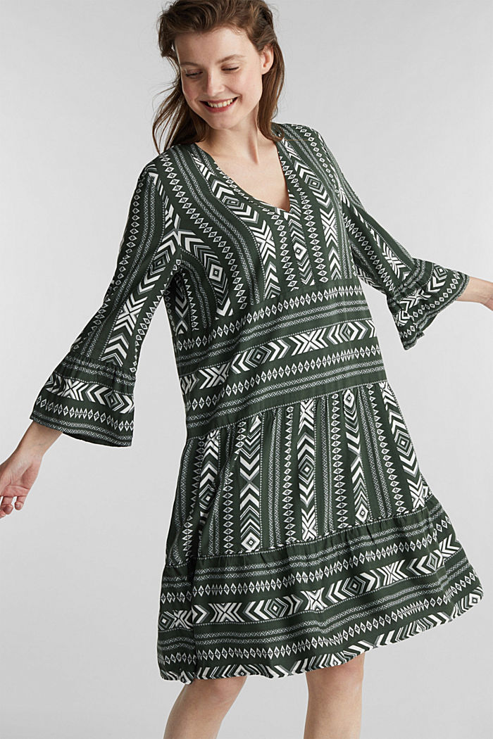 Print dress made of LENZING™ ECOVERO™, KHAKI GREEN, detail image number 0