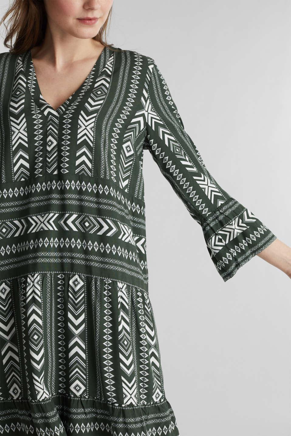Print dress made of LENZING™ ECOVERO™, KHAKI GREEN 4, detail image number 3