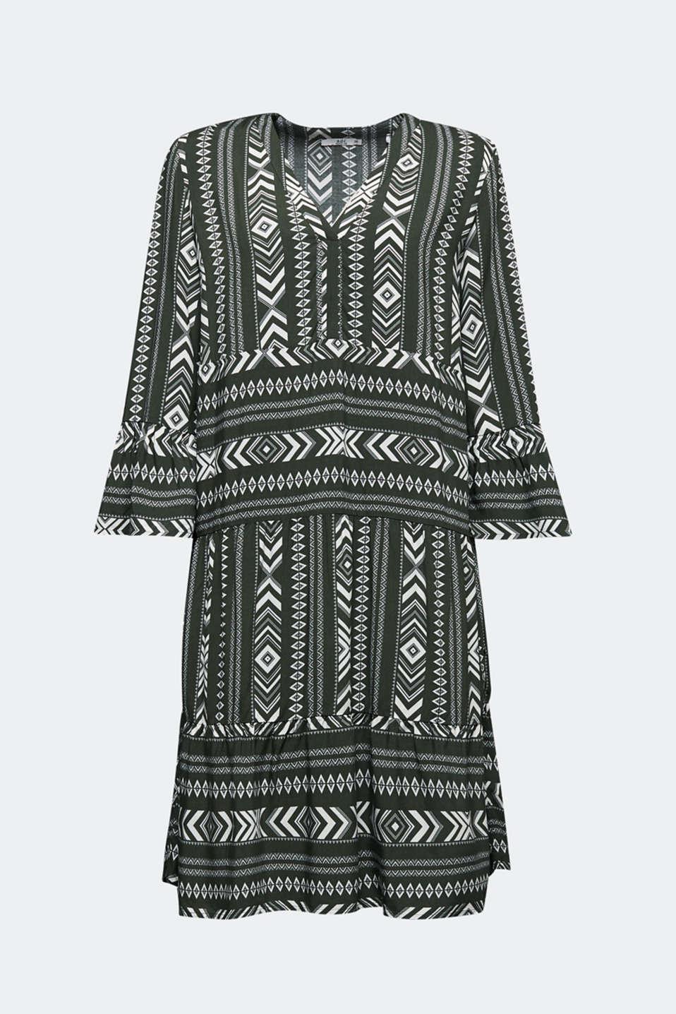 Print dress made of LENZING™ ECOVERO™, KHAKI GREEN 4, detail image number 6