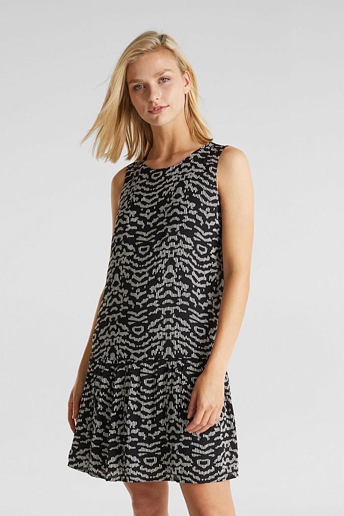 Tkané šaty sgrafickým potiskem, BLACK, detail image number 0
