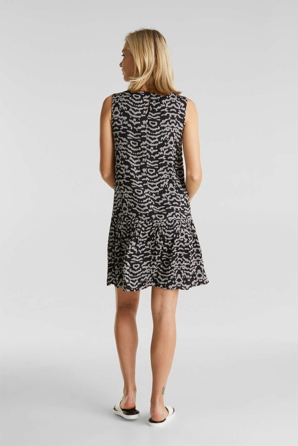 Woven dress with a graphic print, BLACK 3, detail image number 2