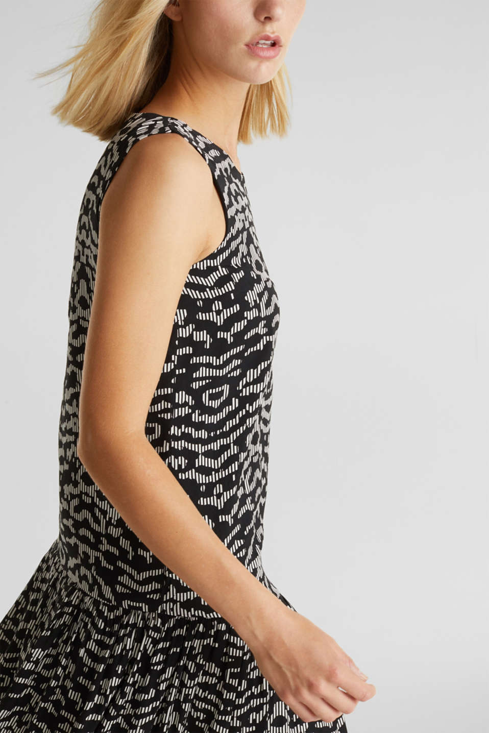 Woven dress with a graphic print, BLACK 3, detail image number 5