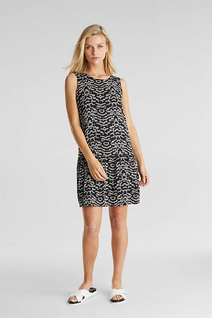 Tkané šaty sgrafickým potiskem, BLACK, detail image number 1