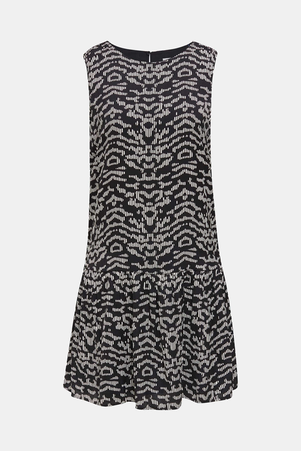 Woven dress with a graphic print, BLACK 3, detail image number 6