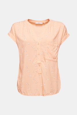 Blouse top made of LENZING™ ECOVERO™, SALMON, detail