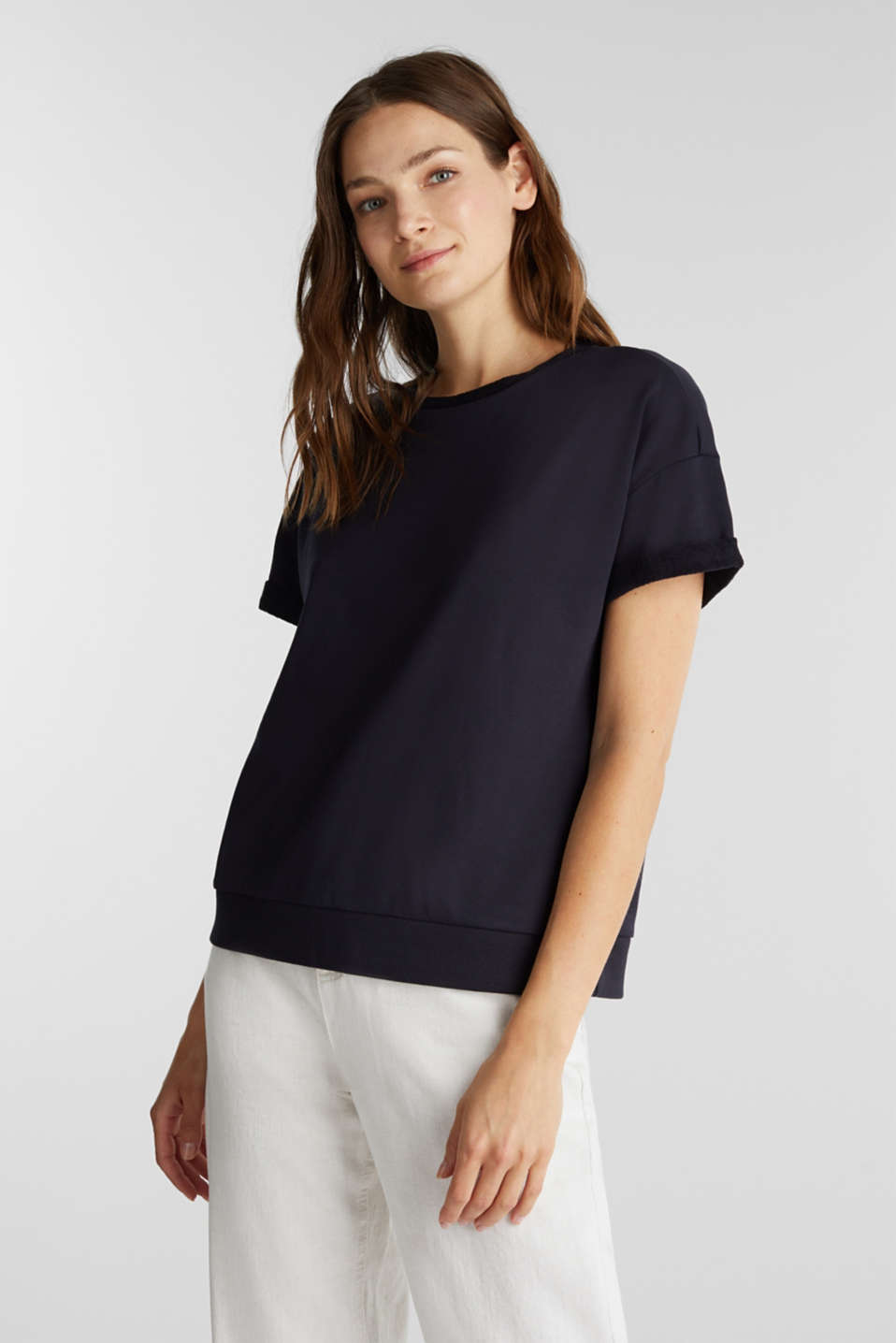 Short-sleeved sweatshirt with terry cloth, NAVY, detail image number 0