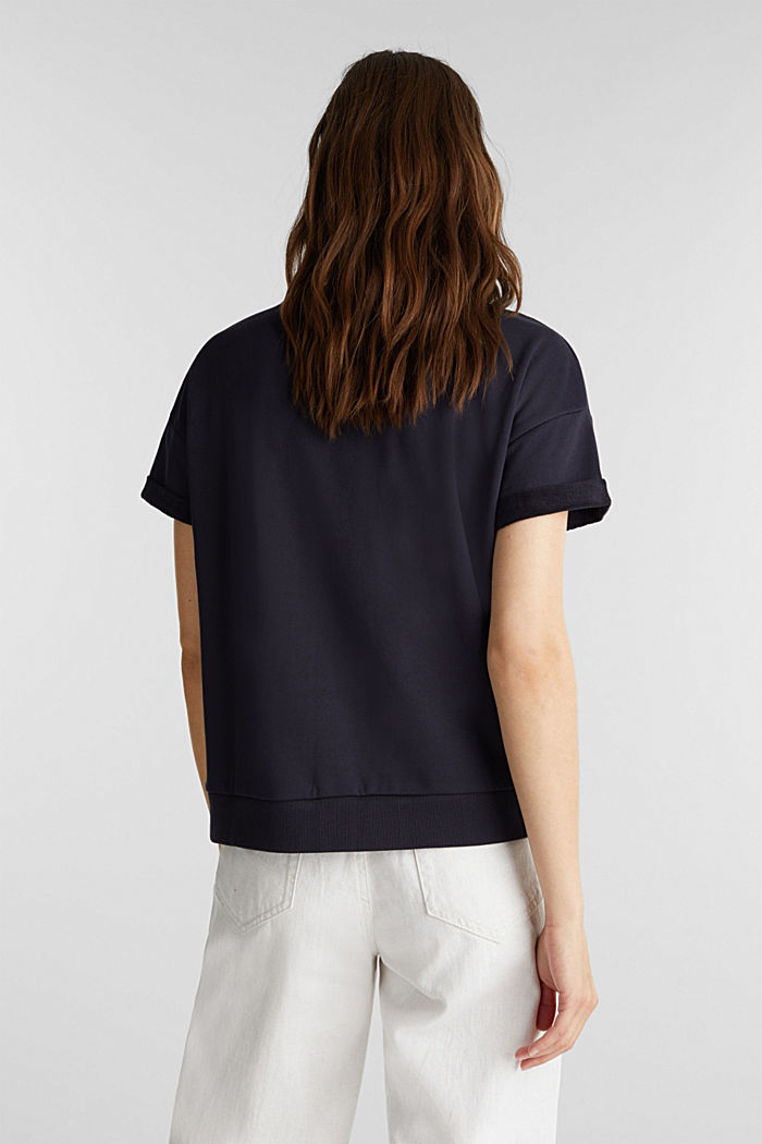 Short-sleeved sweatshirt with terry cloth, NAVY, detail image number 3