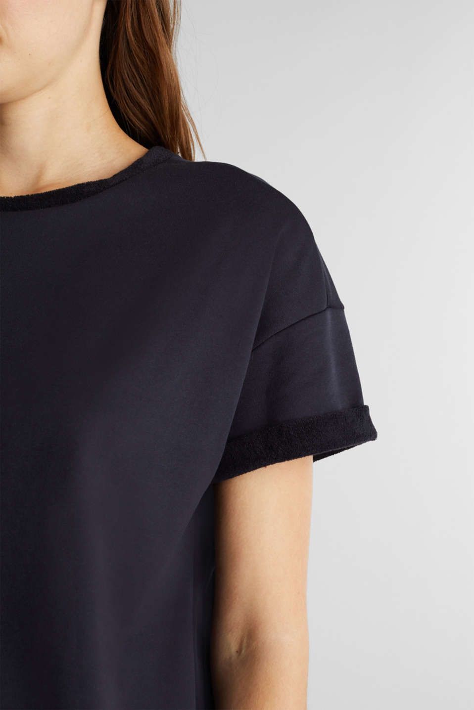 Short-sleeved sweatshirt with terry cloth, NAVY, detail image number 2