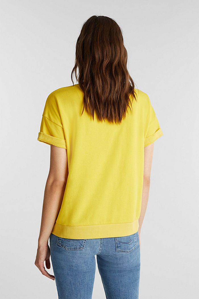 Short-sleeved sweatshirt with terry cloth, YELLOW, detail image number 3