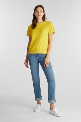 Short-sleeved sweatshirt with terry cloth, YELLOW, detail