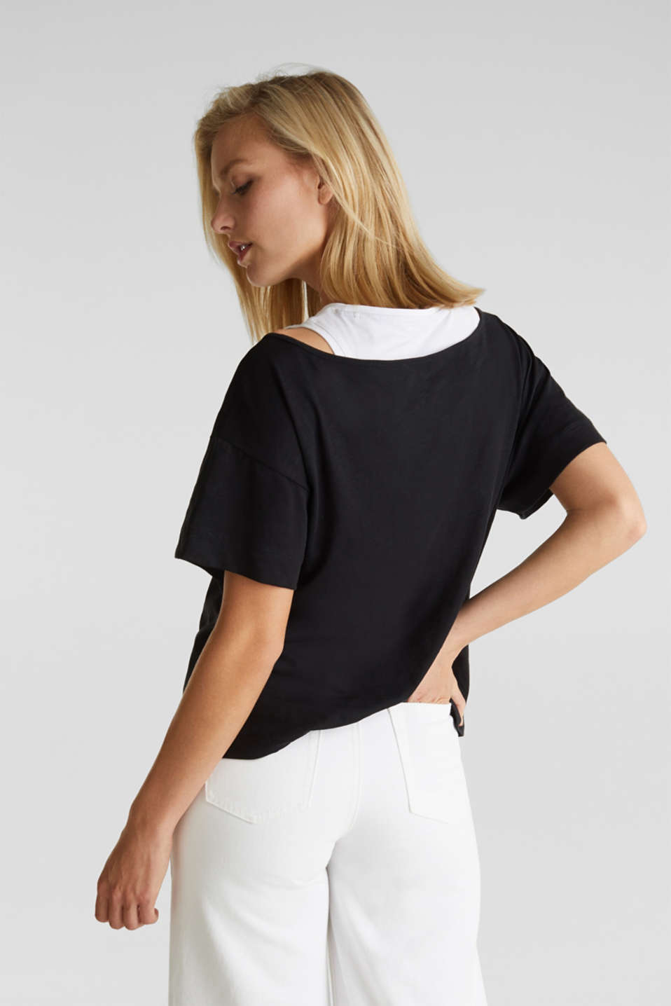 Layered tops made of organic cotton, BLACK, detail image number 3