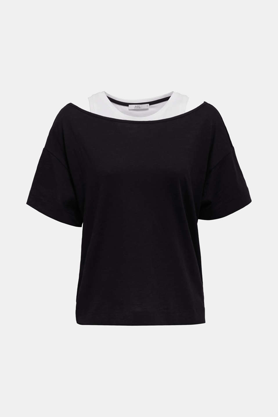 Layered tops made of organic cotton, BLACK, detail image number 5