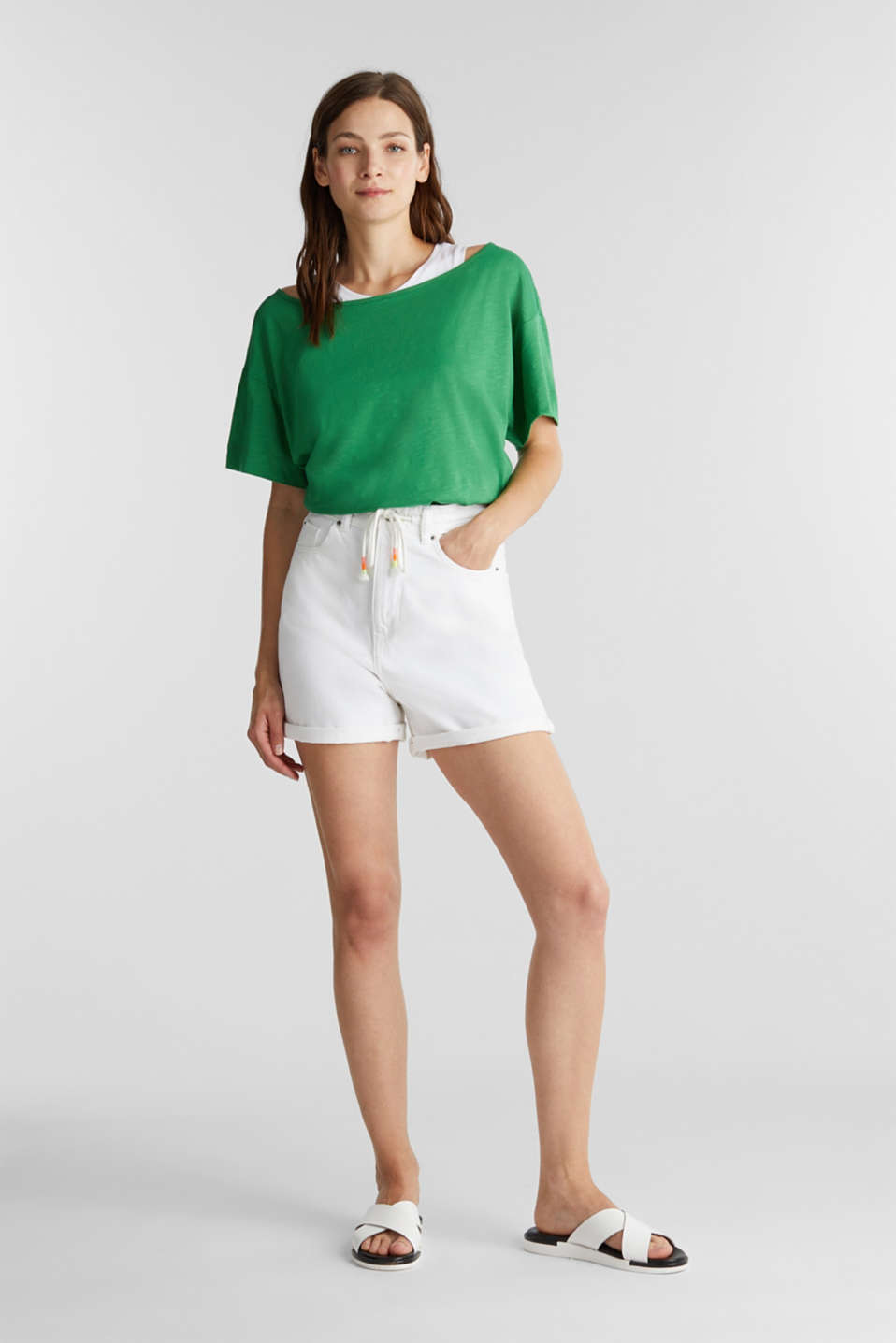 Layered tops made of organic cotton, GREEN, detail image number 1