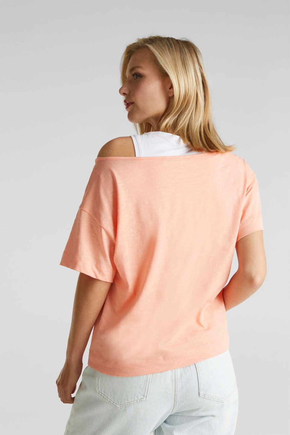 Layered tops made of organic cotton, SALMON, detail image number 3