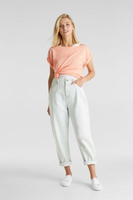 Layered tops made of organic cotton, SALMON, detail
