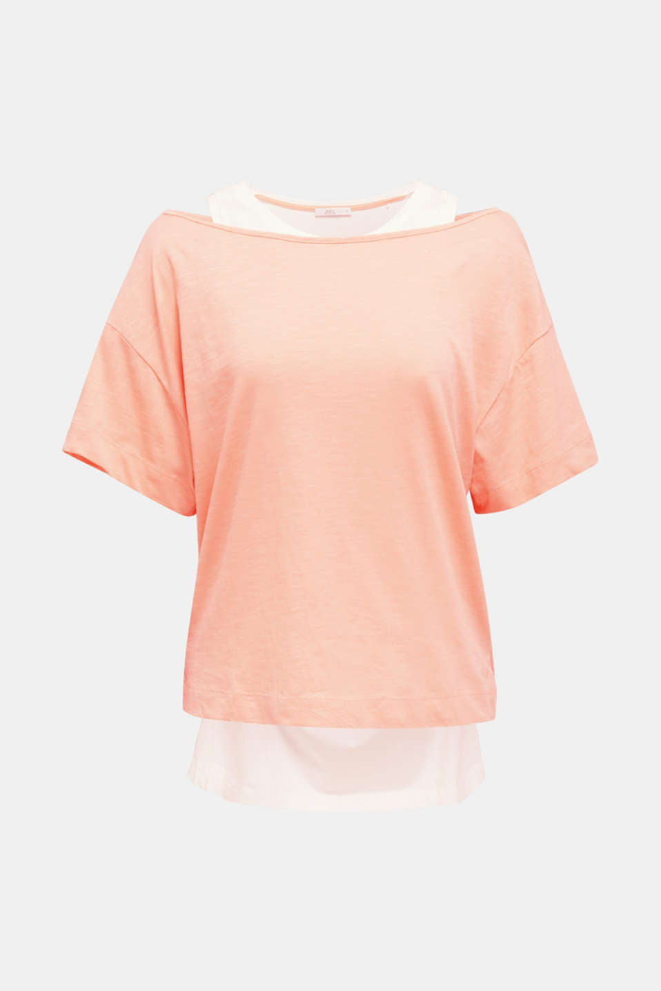 Layered tops made of organic cotton, SALMON, detail image number 6