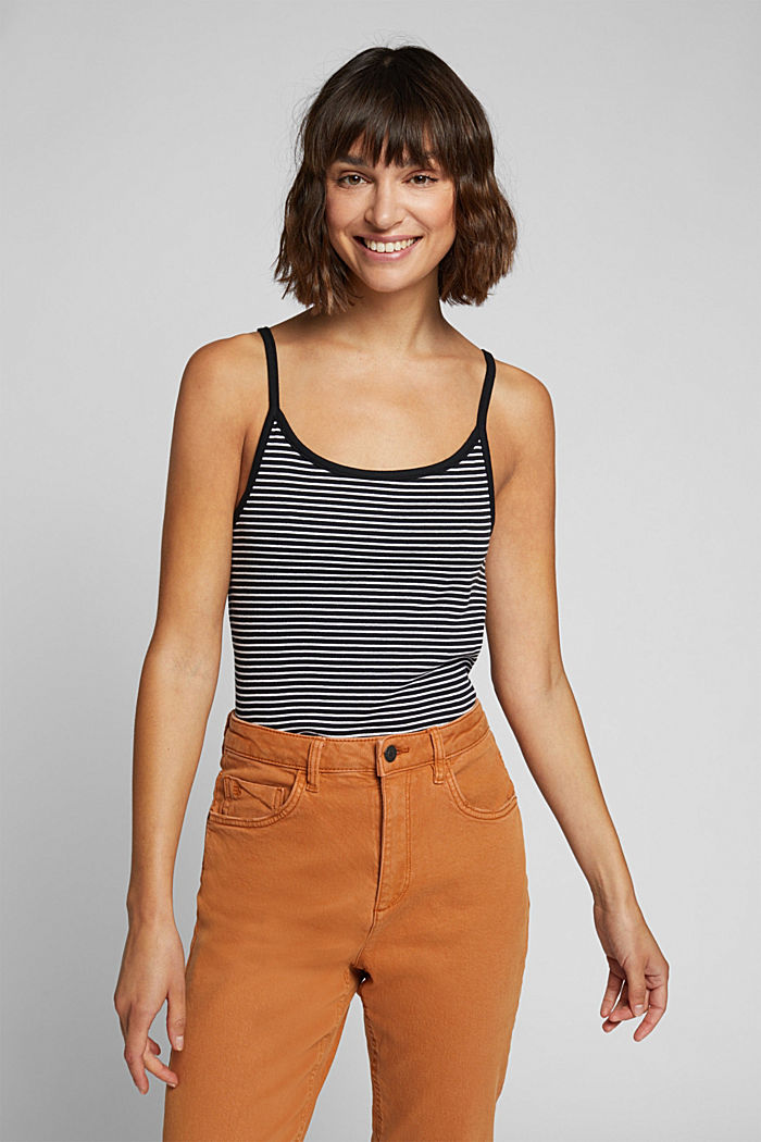 Striped rib jersey top, BLACK, overview