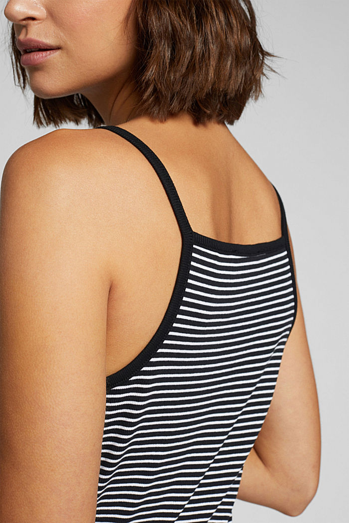 Striped rib jersey top, BLACK, detail image number 2
