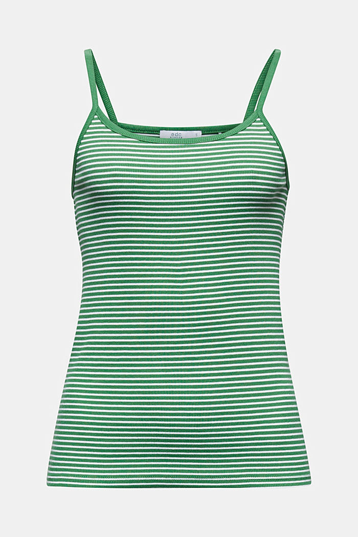 Striped rib jersey top, GREEN, detail image number 6