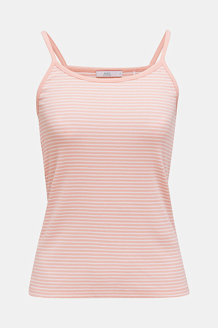 Striped rib jersey top, SALMON, overview