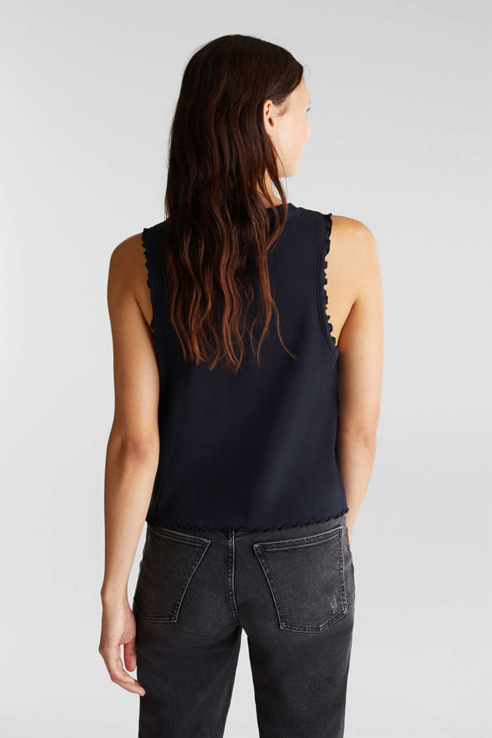 Ribbed jersey sleeveless top, BLACK, detail image number 3