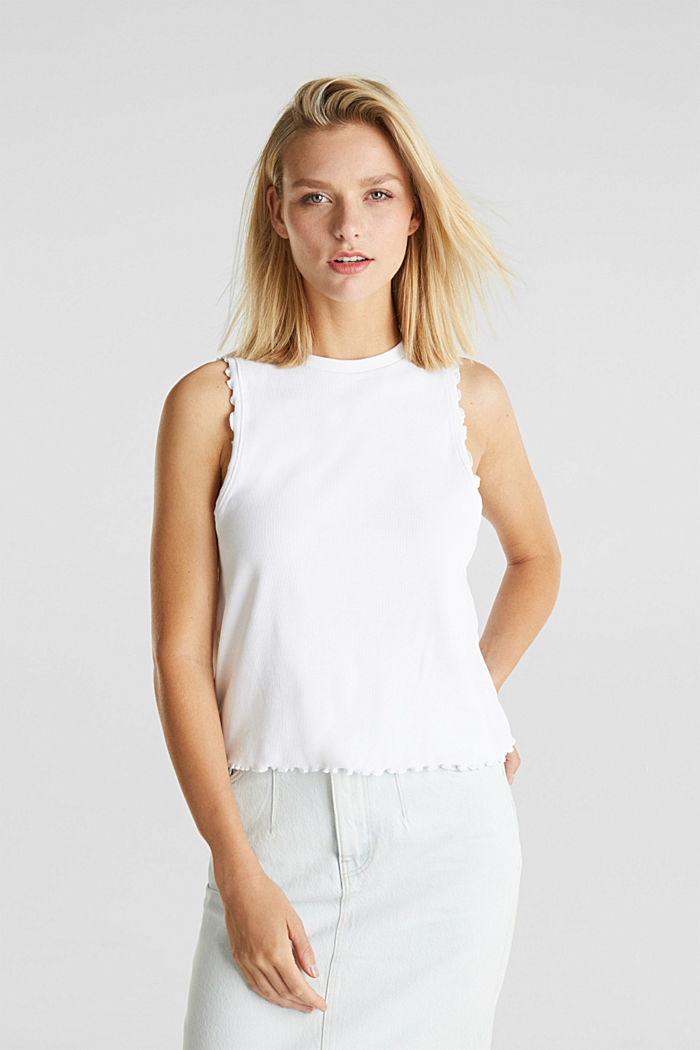 Ribbed jersey sleeveless top, WHITE, detail image number 0