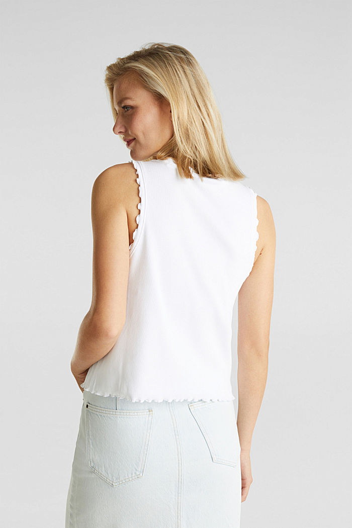 Ribbed jersey sleeveless top, WHITE, detail image number 3