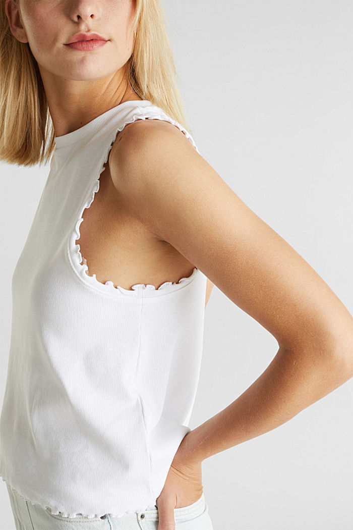 Ribbed jersey sleeveless top, WHITE, detail image number 2