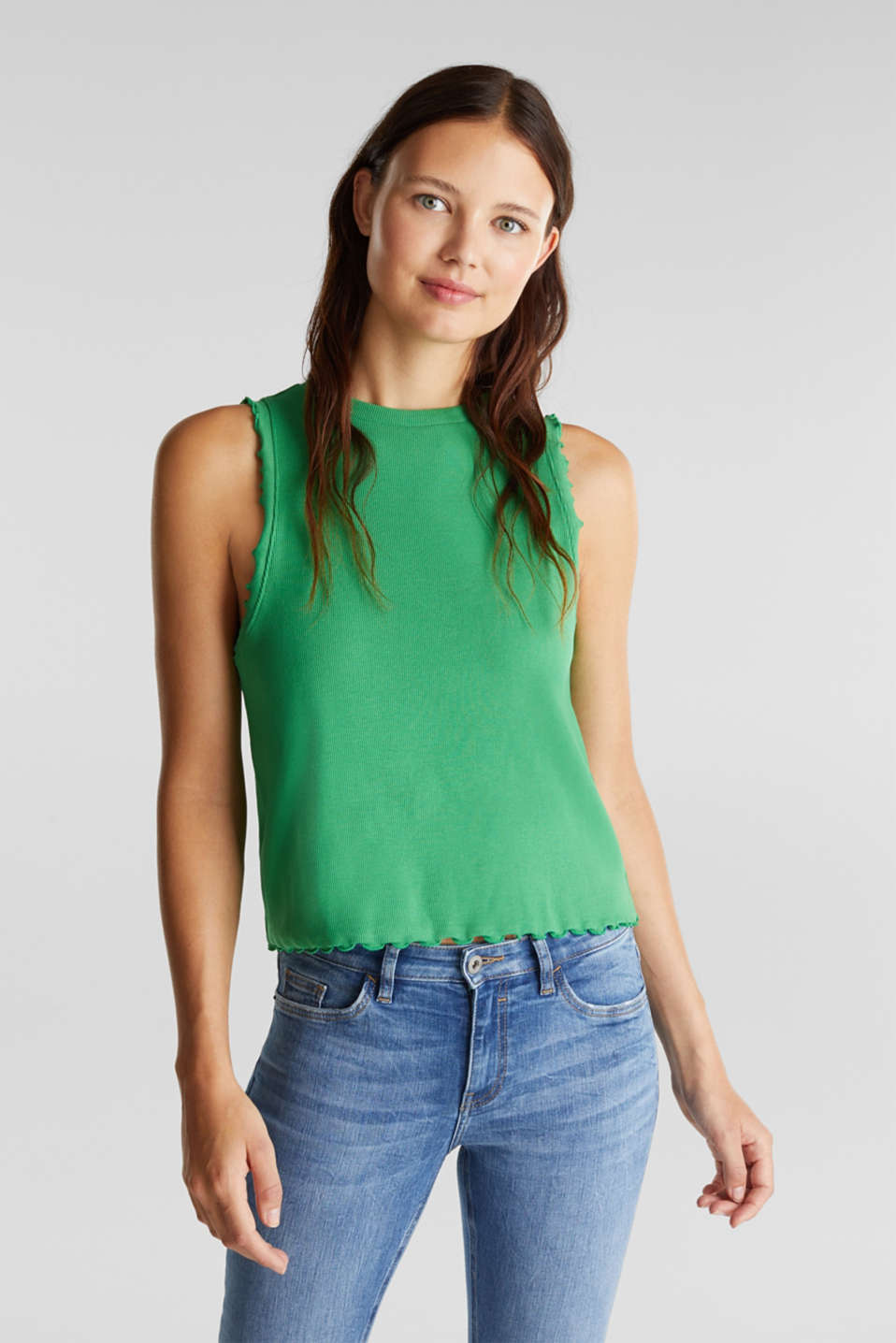 Ribbed jersey sleeveless top, GREEN, detail image number 0
