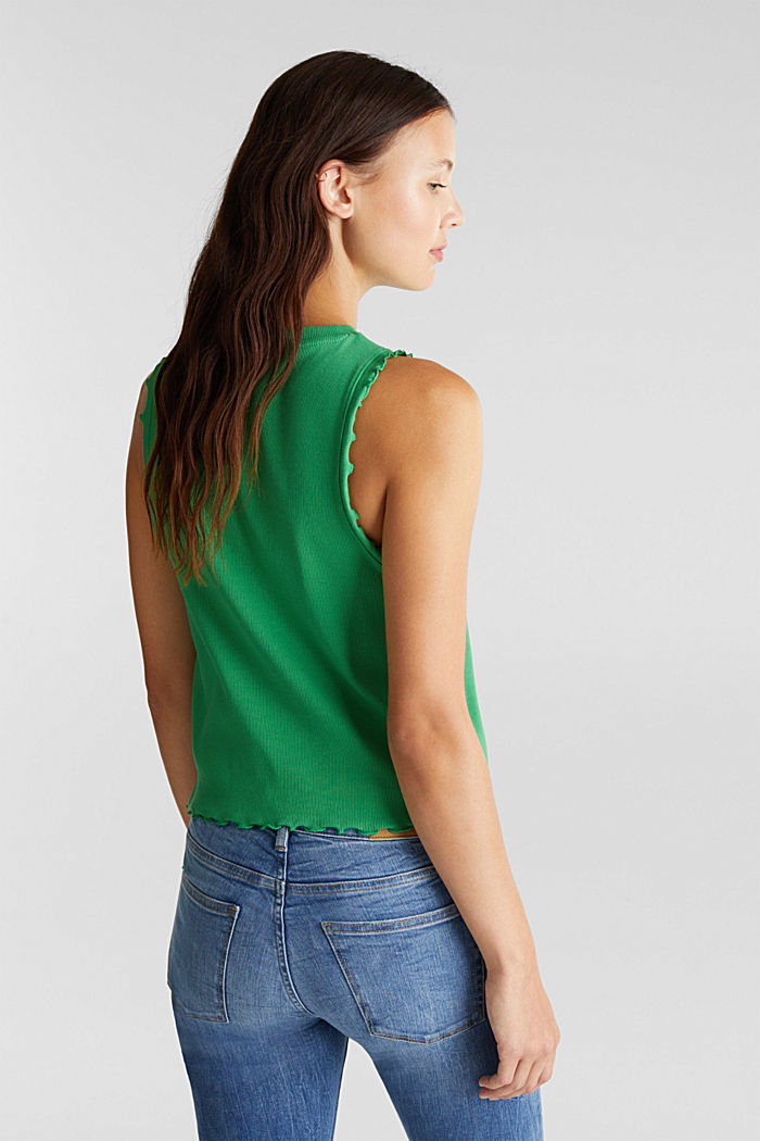 Ribbed jersey sleeveless top, GREEN, detail image number 3