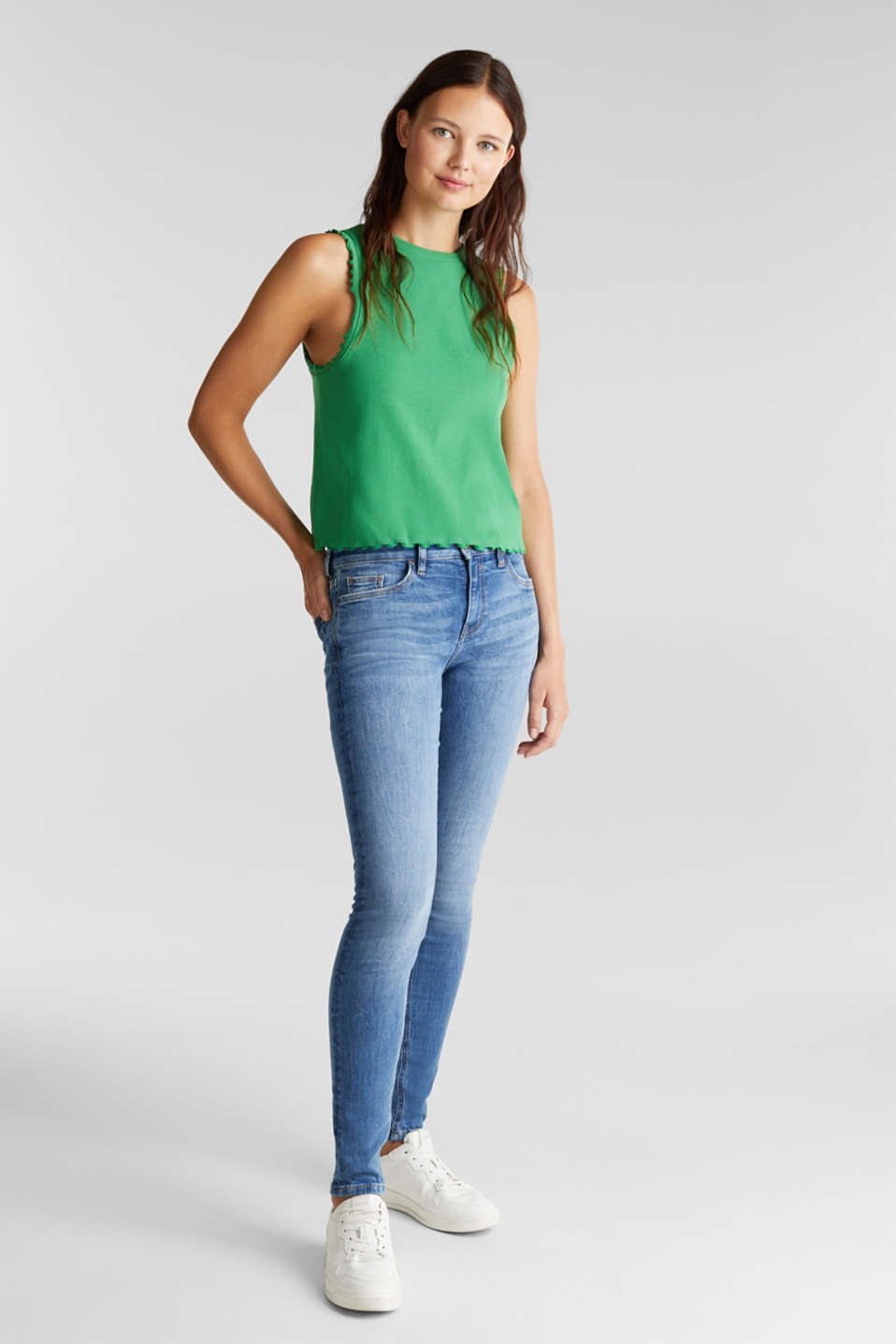 Ribbed jersey sleeveless top, GREEN, detail image number 1