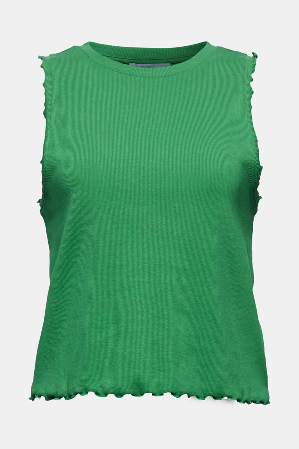 Ribbed jersey sleeveless top, GREEN, detail image number 6