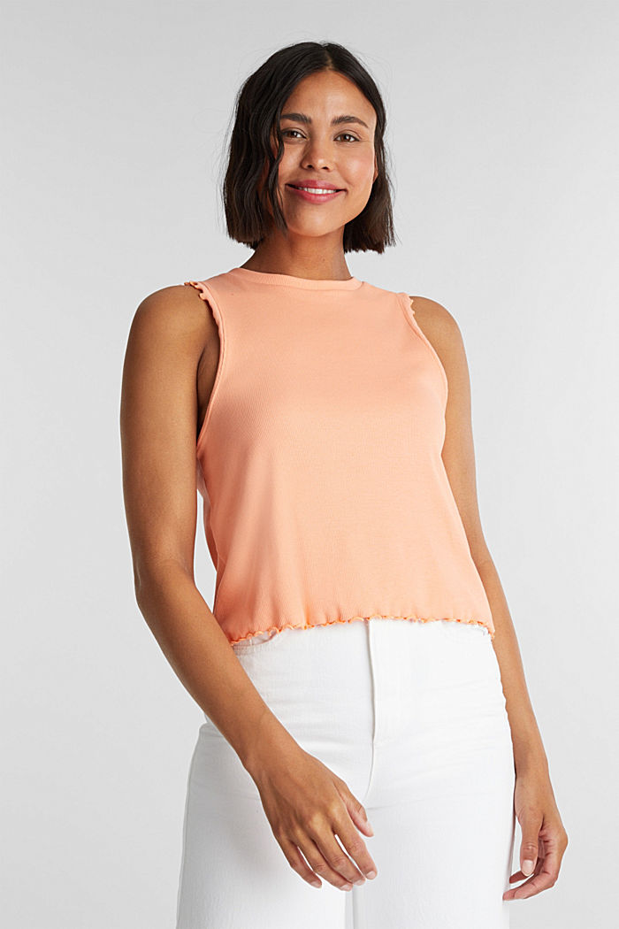 Ribbed jersey sleeveless top, SALMON, detail image number 0