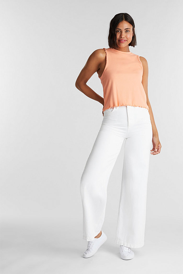 Ribbed jersey sleeveless top, SALMON, detail image number 1