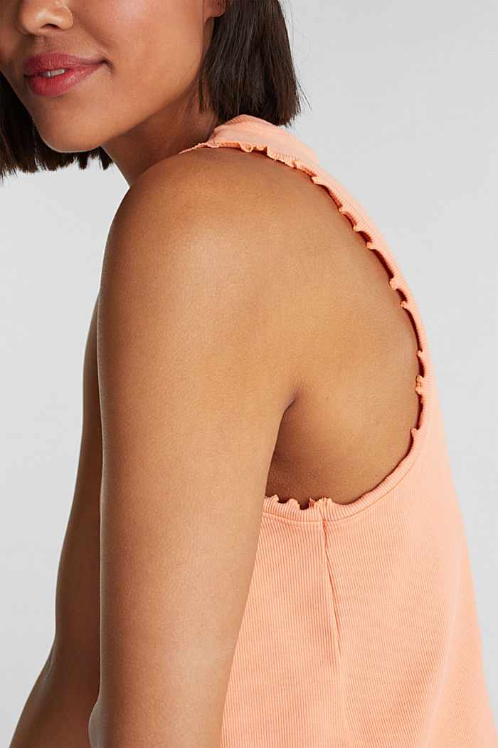 Ribbed jersey sleeveless top, SALMON, detail image number 2