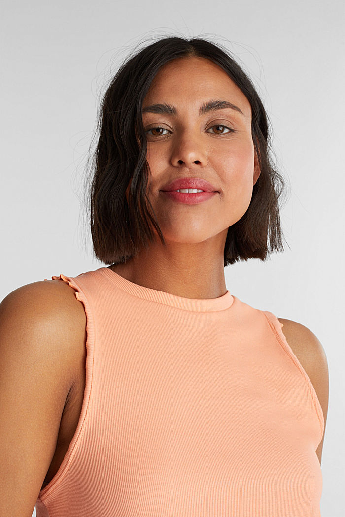 Ribbed jersey sleeveless top, SALMON, detail image number 5