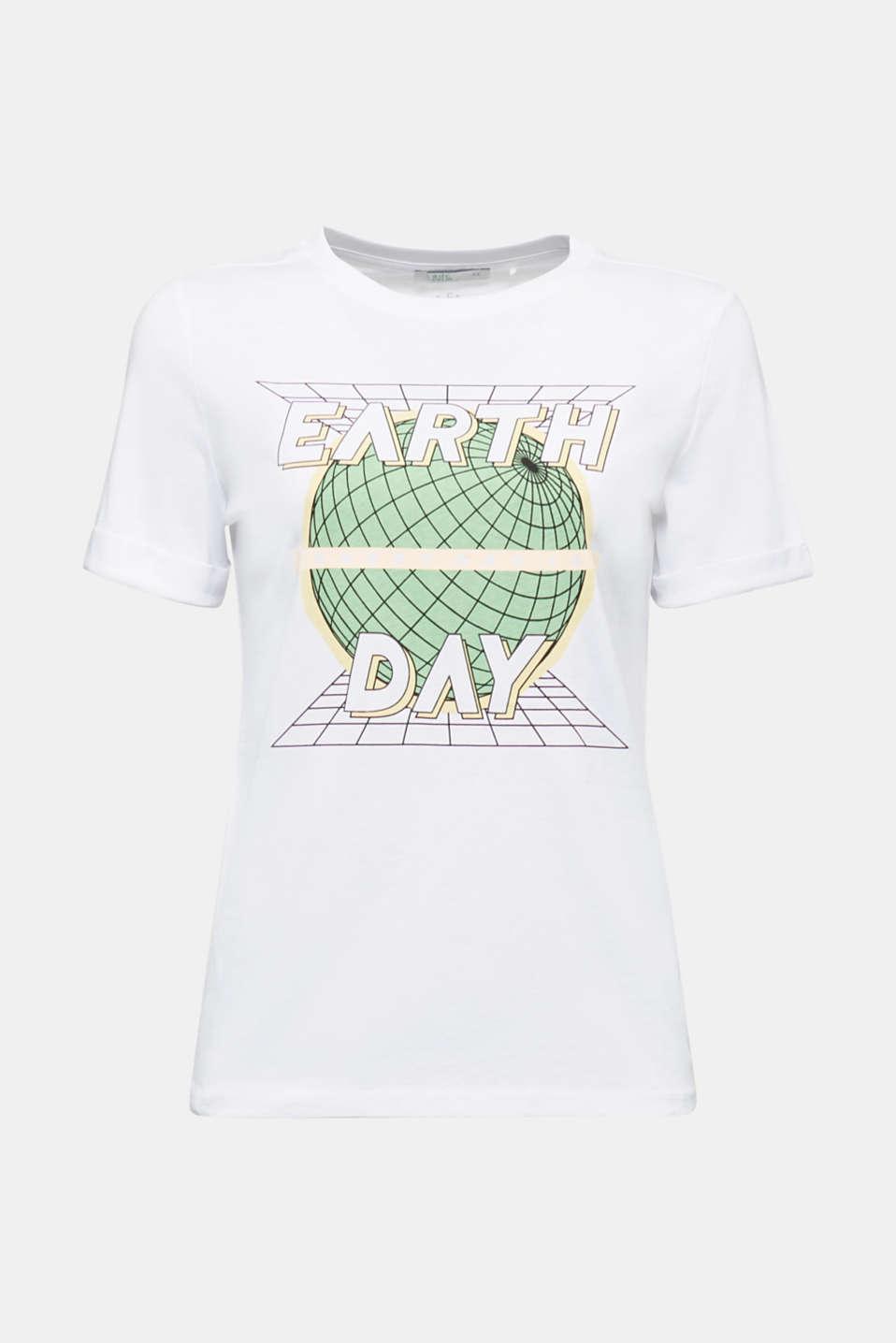 Printed T-shirt in 100% organic cotton, WHITE, detail image number 6