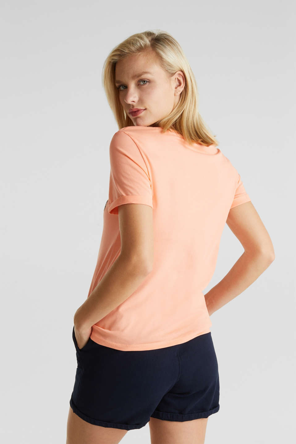 Embroidered T-shirt, 100% organic cotton, SALMON, detail image number 3