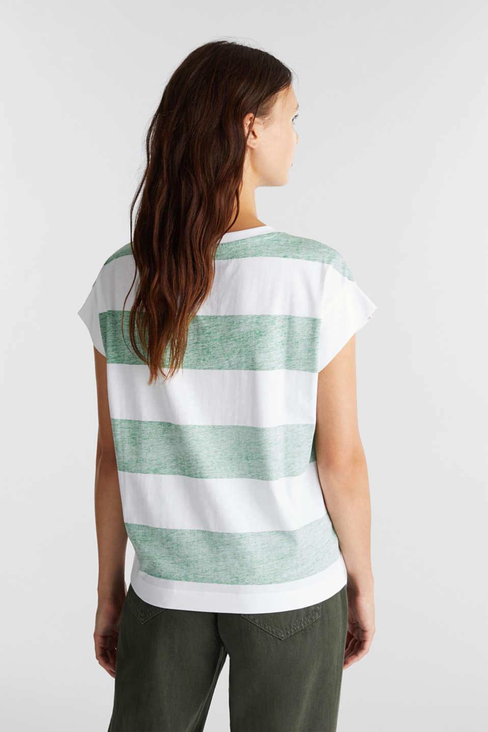 Organic cotton T-shirt in a block stripe design, GREEN, detail image number 3
