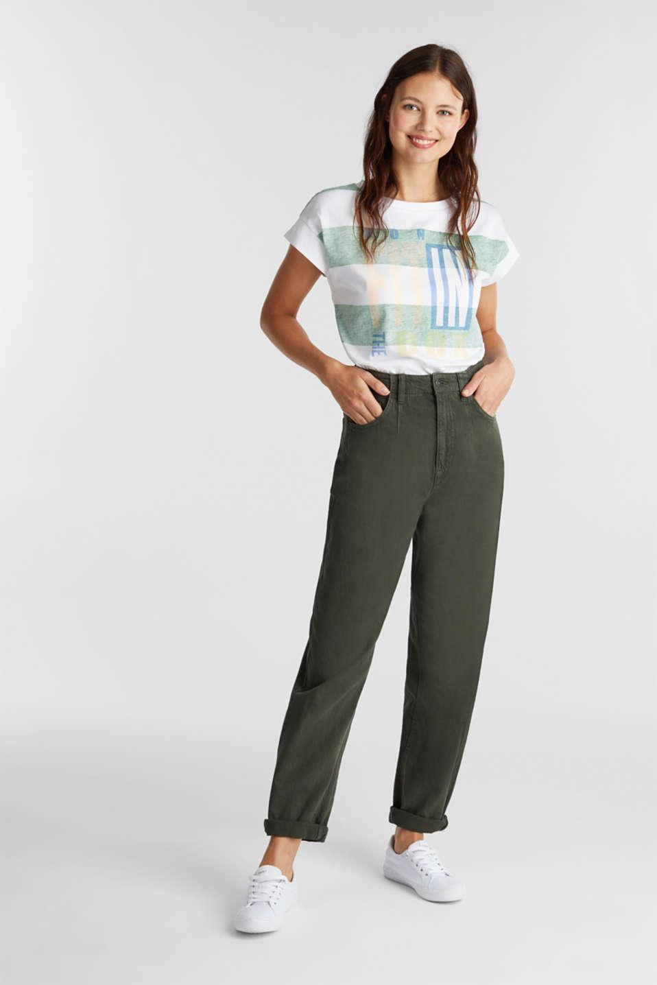 Organic cotton T-shirt in a block stripe design, GREEN, detail image number 1