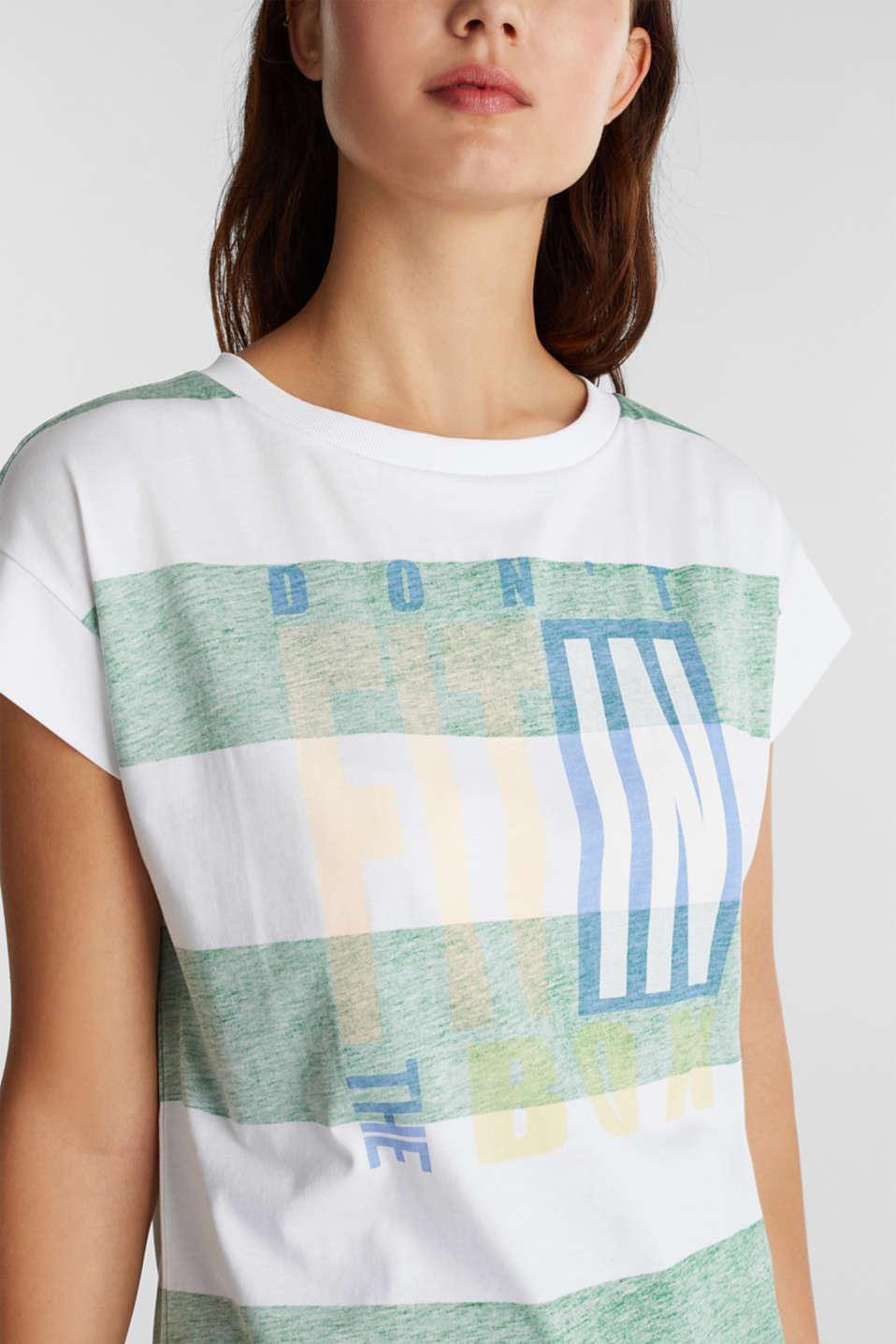 Organic cotton T-shirt in a block stripe design, GREEN, detail image number 2
