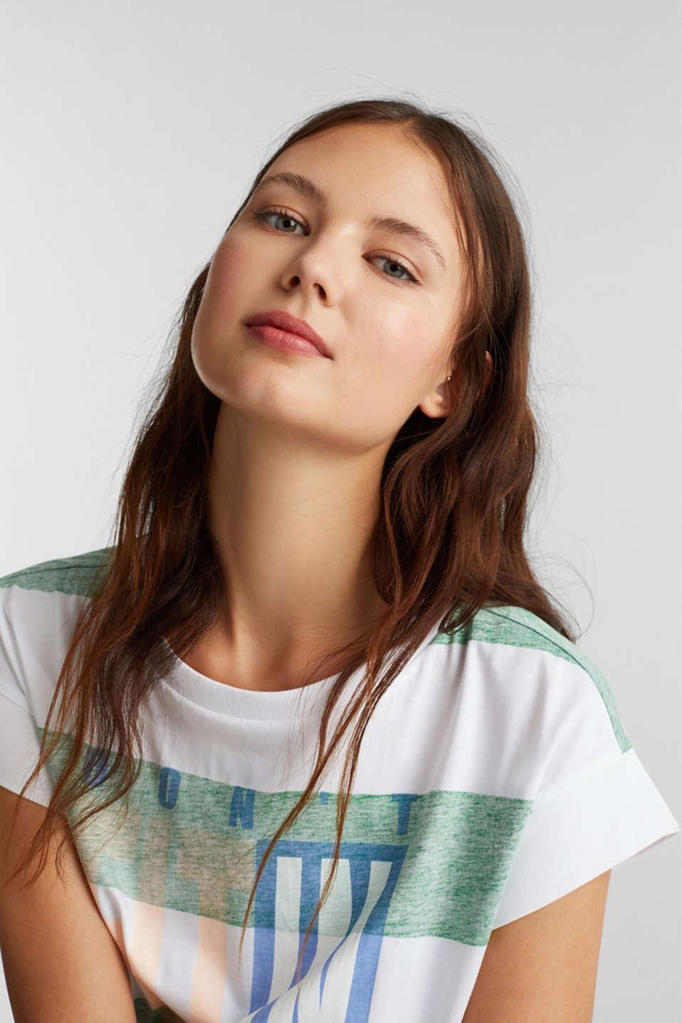 Organic cotton T-shirt in a block stripe design, GREEN, detail image number 5