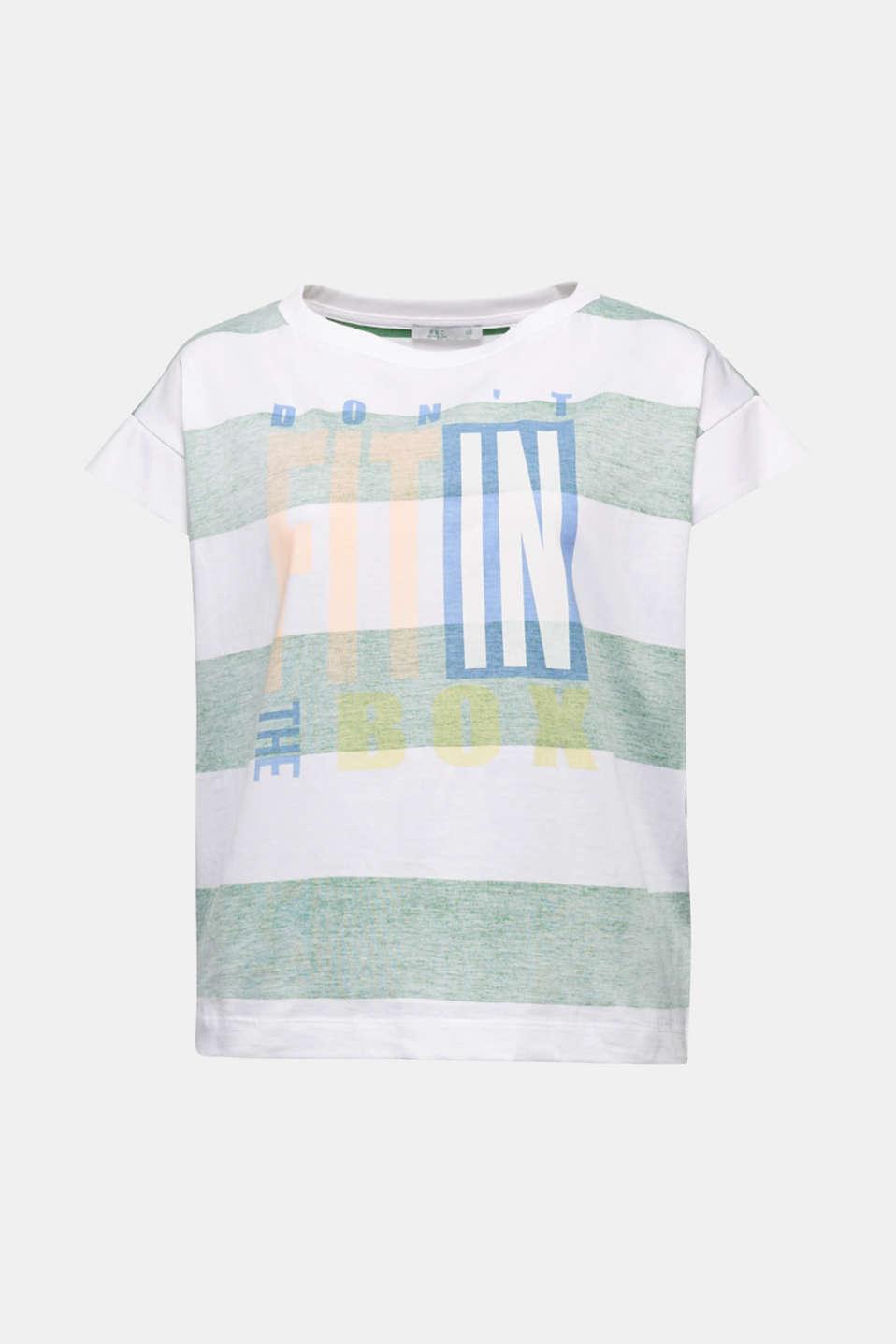 Organic cotton T-shirt in a block stripe design, GREEN, detail image number 6