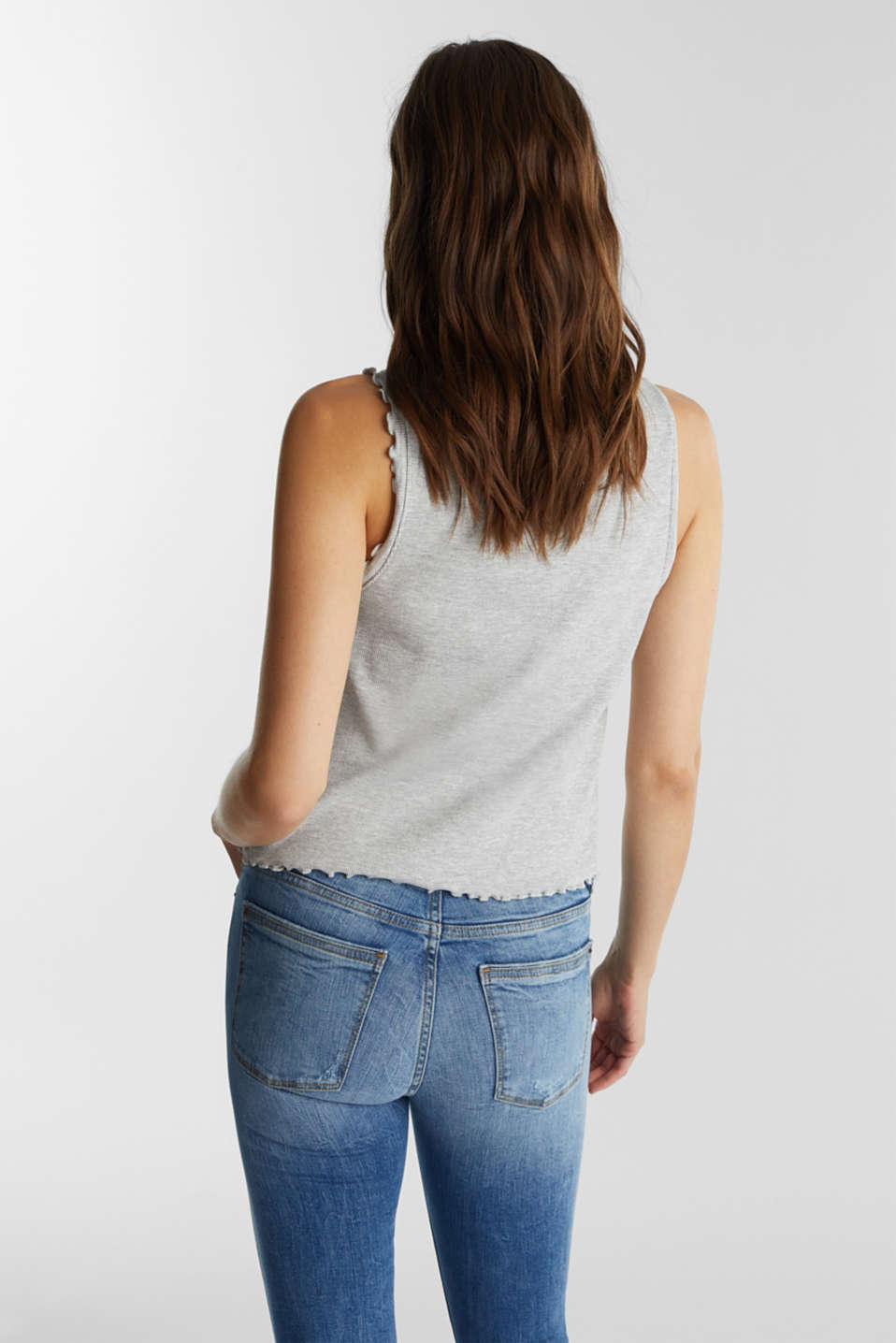 Ribbed jersey top with organic cotton, LIGHT GREY 5, detail image number 3