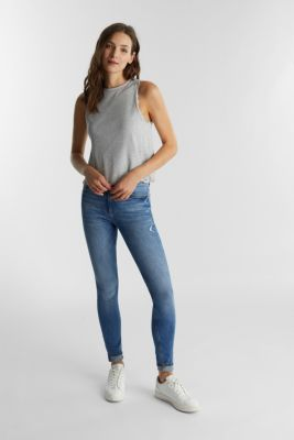 Ribbed jersey top with organic cotton, LIGHT GREY 5, detail